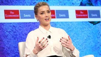 NEW YORK, NY - MARCH 23:  Actress Amber Heard speaks on stage during the 2nd Annual Pride & Prejudice Summit at 10 on The Park on March 23, 2017 in New York City.  (Photo by Monica Schipper/WireImage)