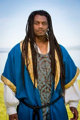 Former inmate Dameion Brown in costume as Othello for the Marin Shakespeare Company's 2016 performance of the play. Brown bec