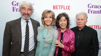 Sam Waterston, Jane Fonda, Lily Tomlin and Martin Sheen seen at Netflix Grace and Frankie Season 3 special screening at Arclight Hollywood on Thursday, March 22, 2017, in Los Angeles, CA. (Photo by Eric Charbonneau/Invision for Netflix/AP Images)