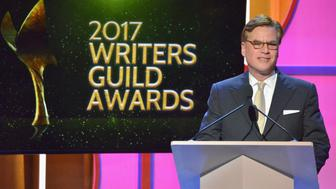 BEVERLY HILLS, CA - FEBRUARY 19:  Screenwriter Aaron Sorkin accepts the Paddy Chayefsky Laurel Award for Television Writing Achievement onstage during the 2017 Writers Guild Awards L.A. Ceremony at The Beverly Hilton Hotel on February 19, 2017 in Beverly Hills, California.  (Photo by Charley Gallay/Getty Images for WGAw)