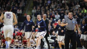 BRIDGEPORT, CONNECTICUT- MARCH 25: Kyla Irwin #25 of the Connecticut Huskies and Tierney Lawlor #20 of the Connecticut Huskies encourage the team as they return to the bench for a time out during the UConn Huskies Vs Oregon Ducks, NCAA Women's Division 1 Basketball Championship game on March 27th, 2017 at the Webster Bank Arena, Bridgeport, Connecticut. (Photo by Tim Clayton/Corbis via Getty Images)