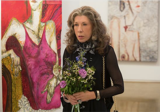 Frankie played by actress Lily Tomlin at her first art show.