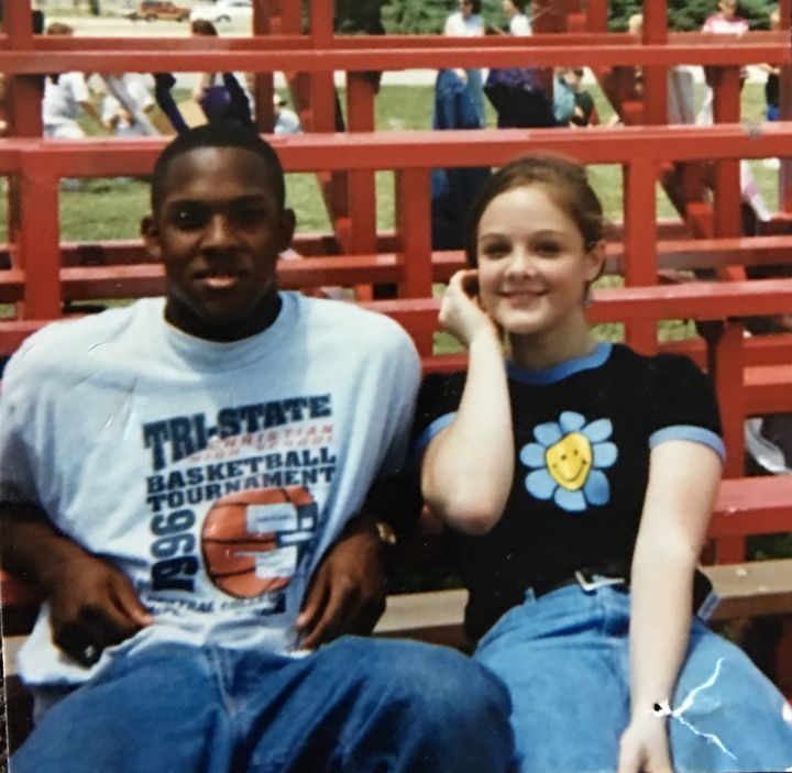 <p>DeAngelo (age 15) with Sarah (age 14) at their Highschool in 1996. </p>