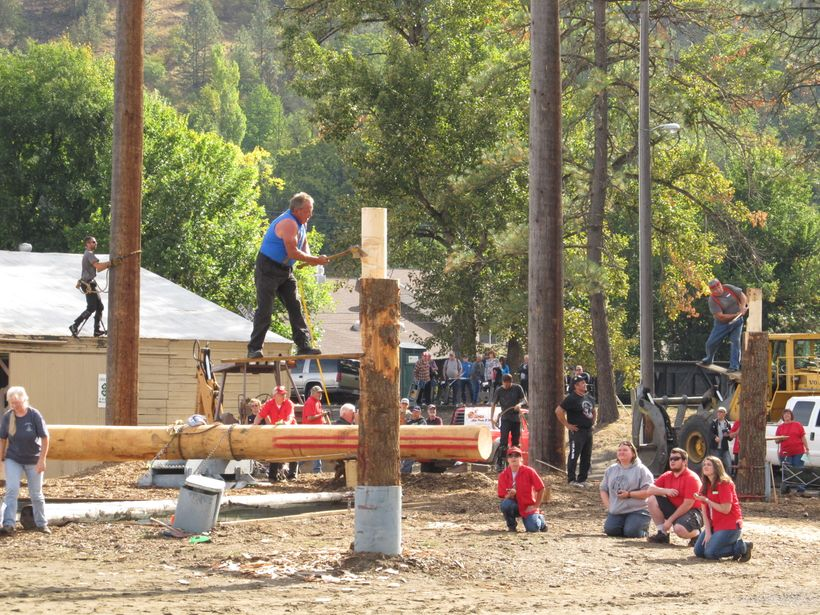 Springboard ax event at the Orofino Lumberjack Days festival