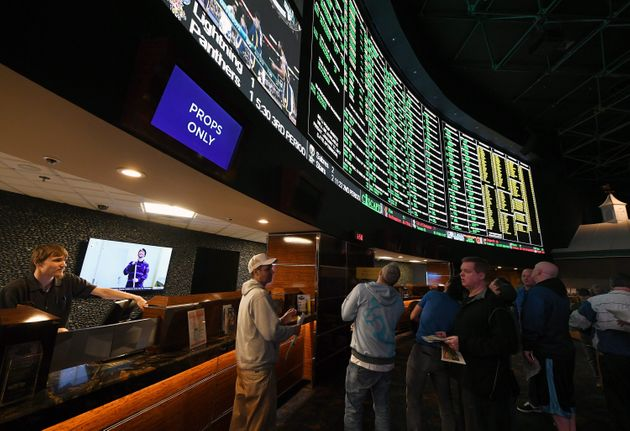 Bettors line up to place wagers on Super Bowl LI at the Westgate Las Vegas Resort & Casino on Jan.