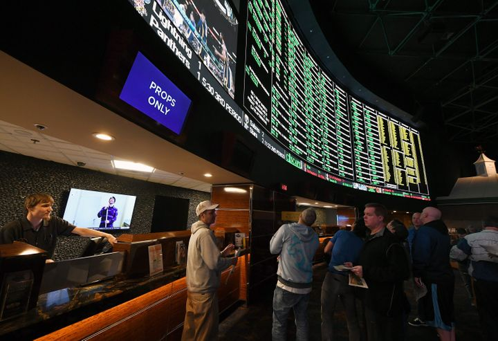 Bettors line up to place wagers on Super Bowl LI at the Westgate Las Vegas Resort & Casino on Jan. 26.