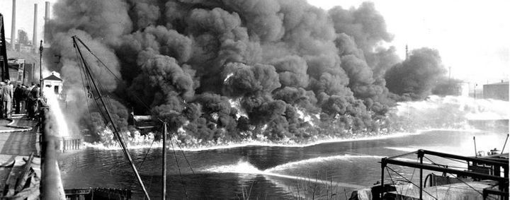 The Cuyahoga River in Cleveland burst into flames in 1953 and 1969 because it was coated with oil, sewage, and industria