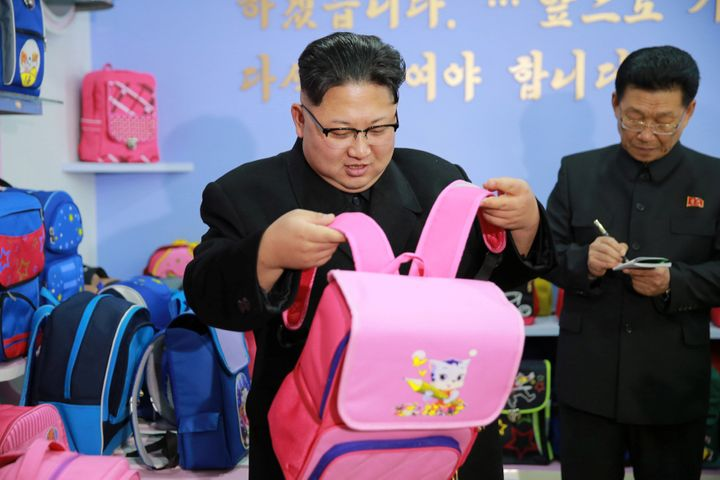 Kim Jong Un during a visit to a newly-build bag factory in Pyongyang