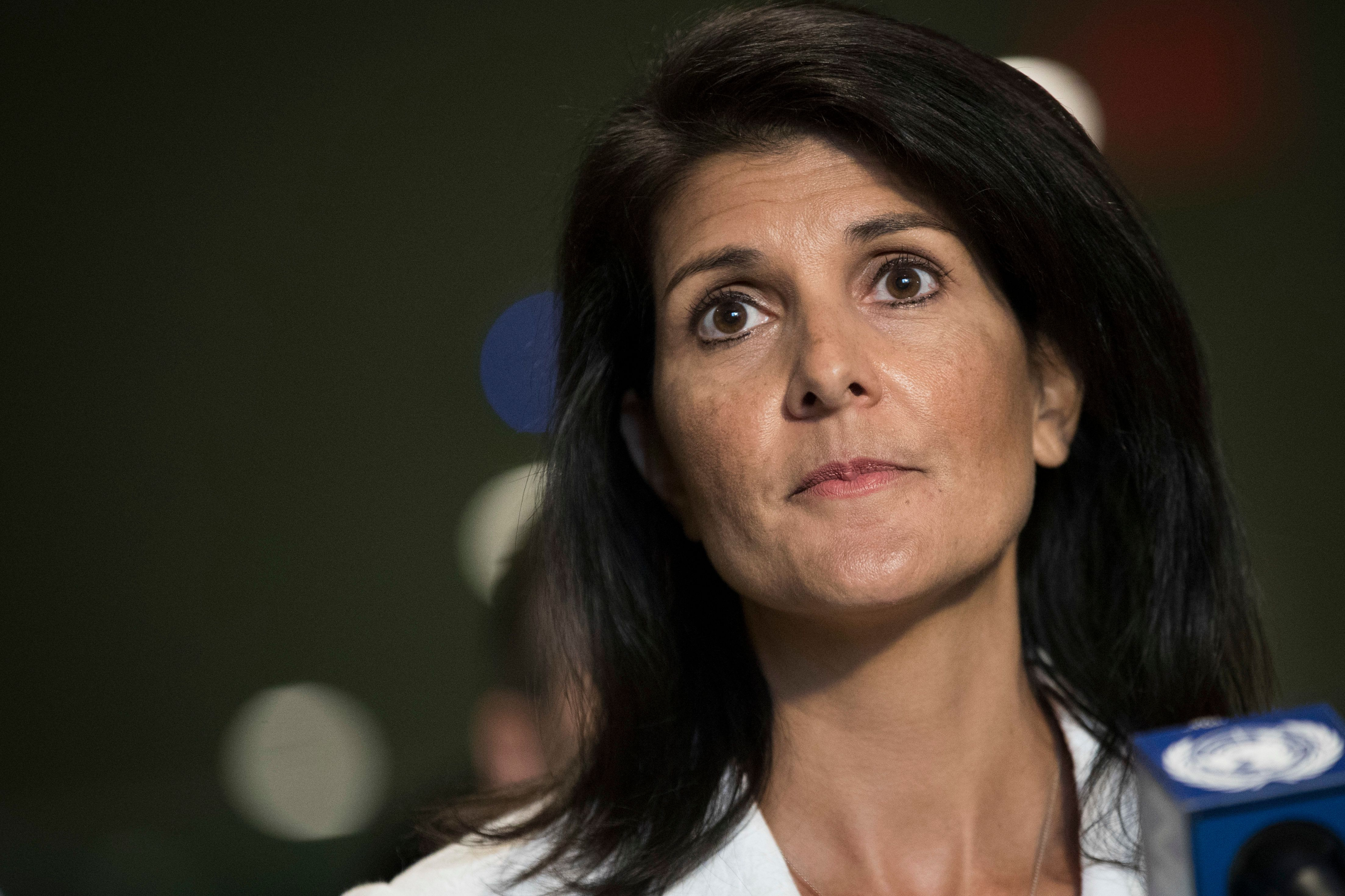 NEW YORK, NY - MARCH 27: U.S. Ambassador to the United Nation Nikki Haley speaks to reporters at the United Nations headquarters, March 27, 2017 in New York City. The U.S. and more han 30 countries, including Britain and France, are not joining negotiations concerning a United Nations nuclear weapons ban treaty. (Photo by Drew Angerer/Getty Images)