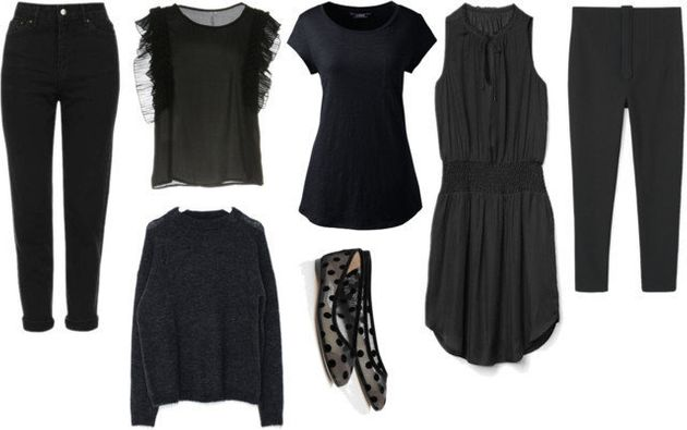 Clockwise from top left: Moto black mom jeans, $79.99 at TopShop; Care of you blouse, $76 at...