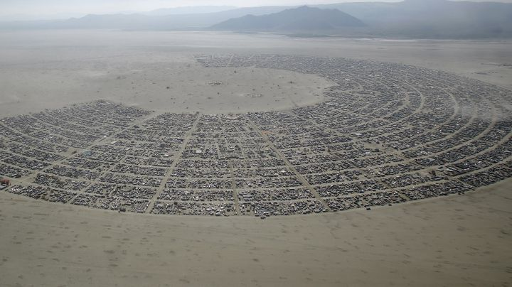 "An aerial view of Burning Man 2015 ""Carnival of Mirrors"" arts and music festival in the Black Rock Desert of Nevada, Septembe"