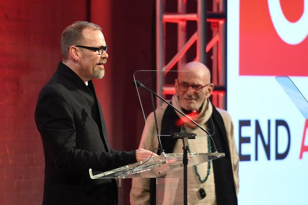 David France (left) and Larry Kramer (right) at GMHC's 35th Anniversary Gala.