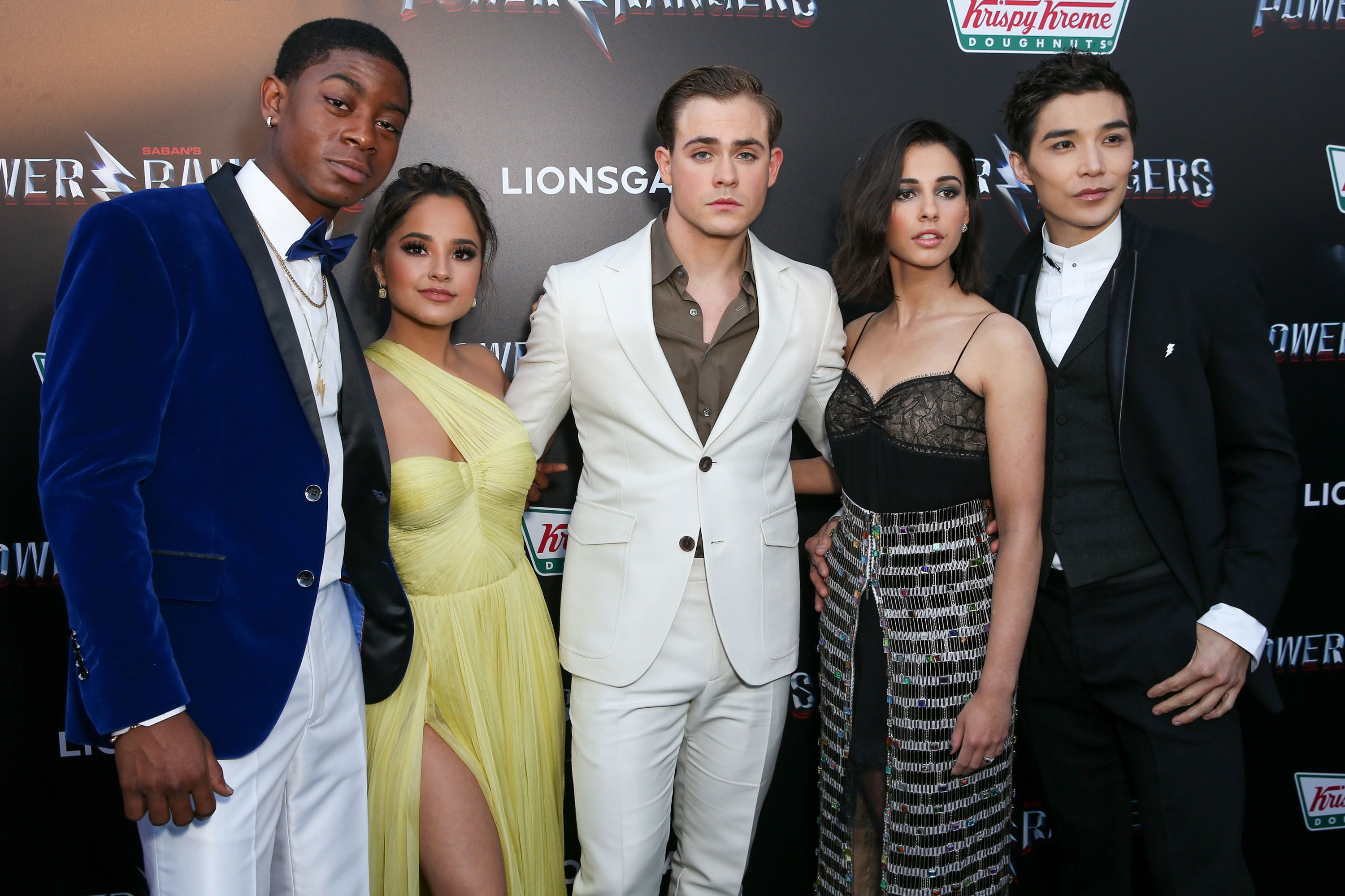 WESTWOOD, CA - MARCH 22: (L-R) RJ Cyler, Becky G, Dacre Montgomery, Naomi Scott and Ludi Lin arrive at the premiere of Lionsgate's 'Power Rangers' at the Westwood Village Theatre on March 22, 2017 in Westwood, California.  (Photo by Rich Fury/Getty Images)