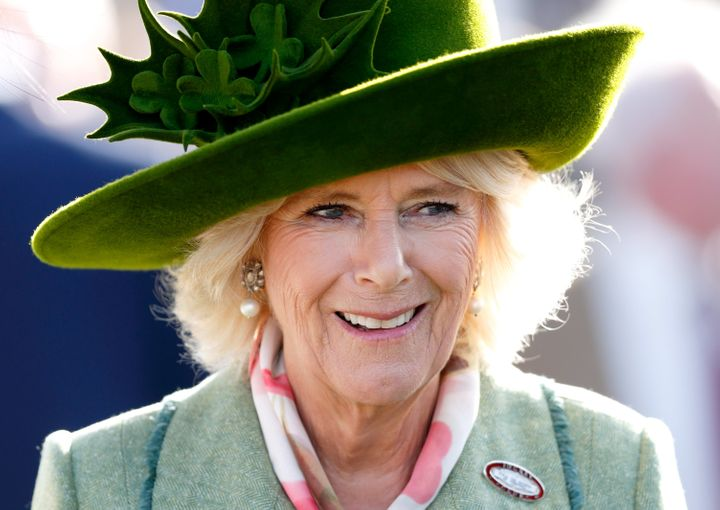 "Camilla, Duchess of Cornwall attends ""Ladies Day"" of the Cheltenham Festival at Cheltenham Racecourse on March 15 in Cheltenh"