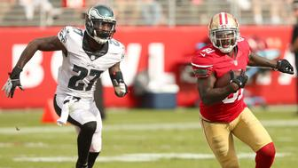 28 September 2014: Anquan Boldin of the San Francisco 49ers eludes Malcolm Jenkins during an NFL game between the Niners and the Philadelphia Eagles at Levi's Stadium in Santa Clara, CA. The 49ers won the game 26-21. (Photo by Daniel Gluskoter/Icon Sportswire/Corbis via Getty Images)