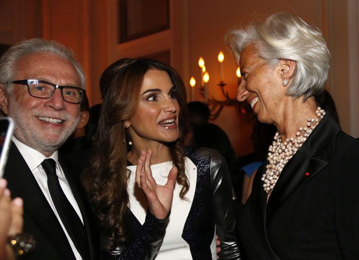 CNN anchor Wolf Blitzer, Jordan's Queen Rania Al-Abdullah, and IMF managing director Christine Lagarde at the Bloomberg-