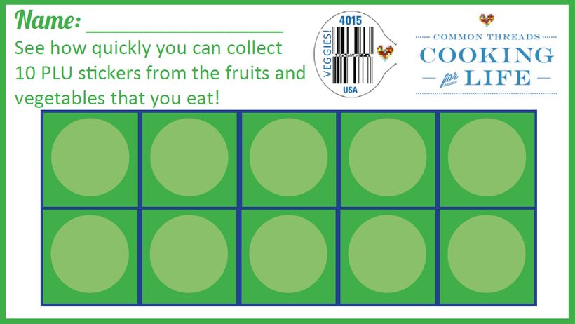 <em>Peel the PLU sticker off every fruit and vegetable you buy at the grocery and see who can collect the most in your family