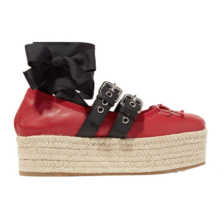 "<p><a rel=""nofollow"" href=""http://rstyle.me/~9Nyqz"" target=""_blank"">Lace-Up Leather Platform Espadrilles</a>, Miu Miu $670</p>"