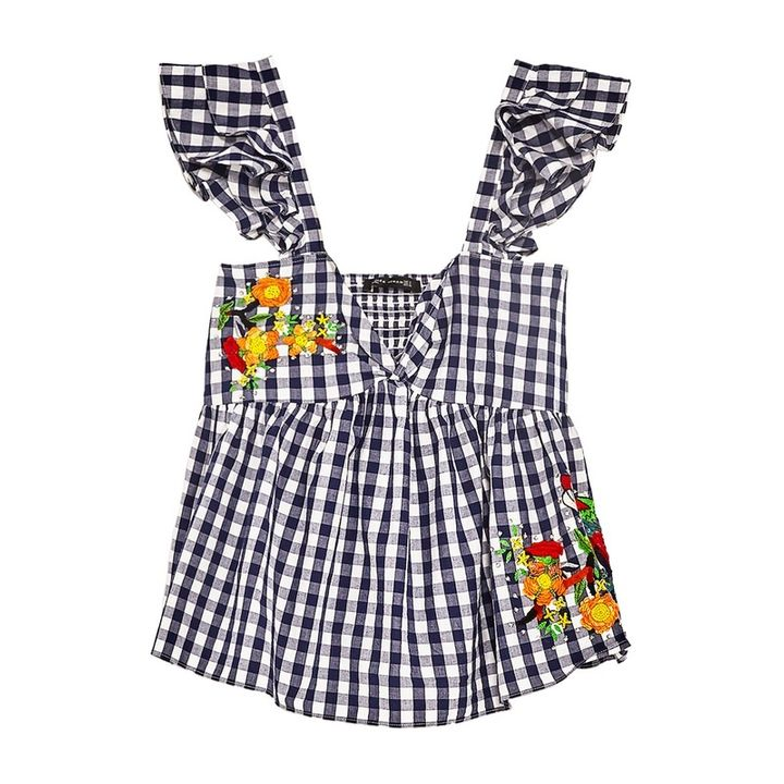 "<p><a rel=""nofollow"" href=""https://www.zara.com/us/en/woman/new-in/gingham-embroidered-top-c805003p4329523.html"" target=""_blank"">Gingham Embroidered Top</a>, Zara $50</p>"