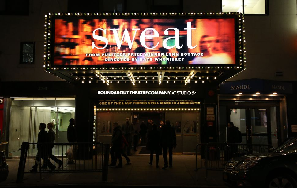 "Theatre marquee unveiling for Lynn Nottage's play ""Sweat"" on Broadway at Studio 54."