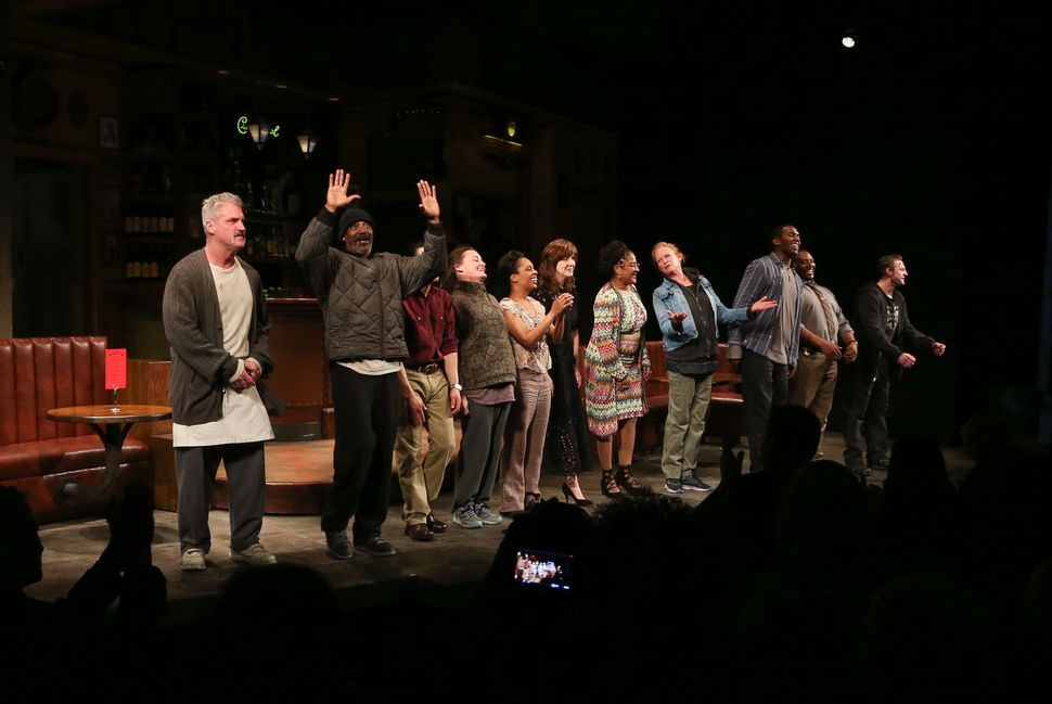 "Director Kate Whoriskey and writer Lynn Nottage join cast members on stage during curtain call for ""Sweat"" during its Broadwa"