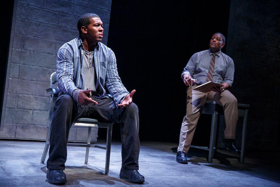 "Chris Davis as Chris and Lance Coadie Williams as Evan in ""Sweat."""