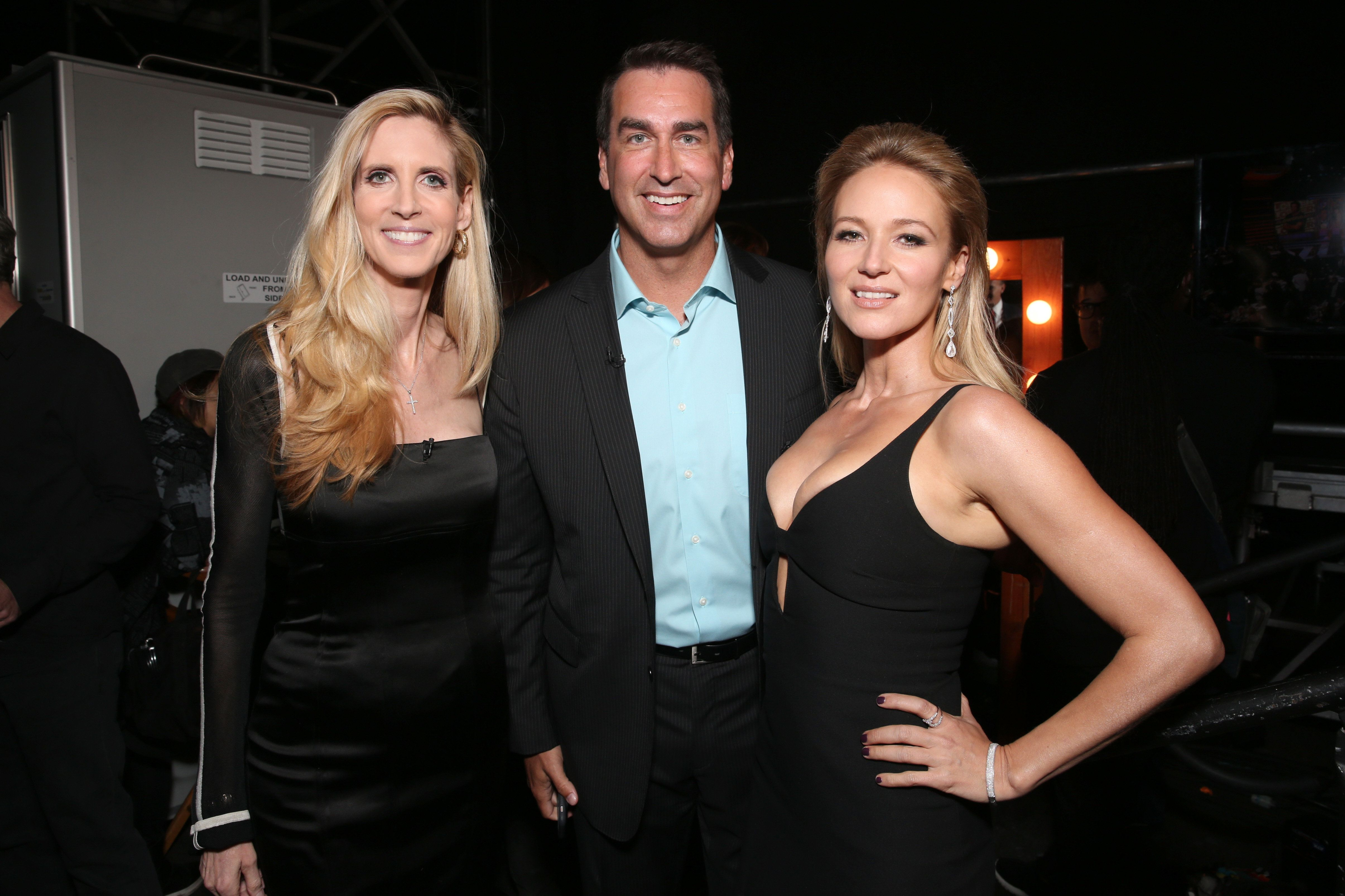 LOS ANGELES, CA - AUGUST 27:  (L-R) Commentator Ann Coulter, actor Rob Riggle and singer Jewel attend The Comedy Central Roast of Rob Lowe at Sony Studios on August 27, 2016 in Los Angeles, California. The Comedy Central Roast of Rob Lowe will premiere on September 5, 2016 at 10:00 p.m. ET/PT.  (Photo by Todd Williamson/Getty Images)
