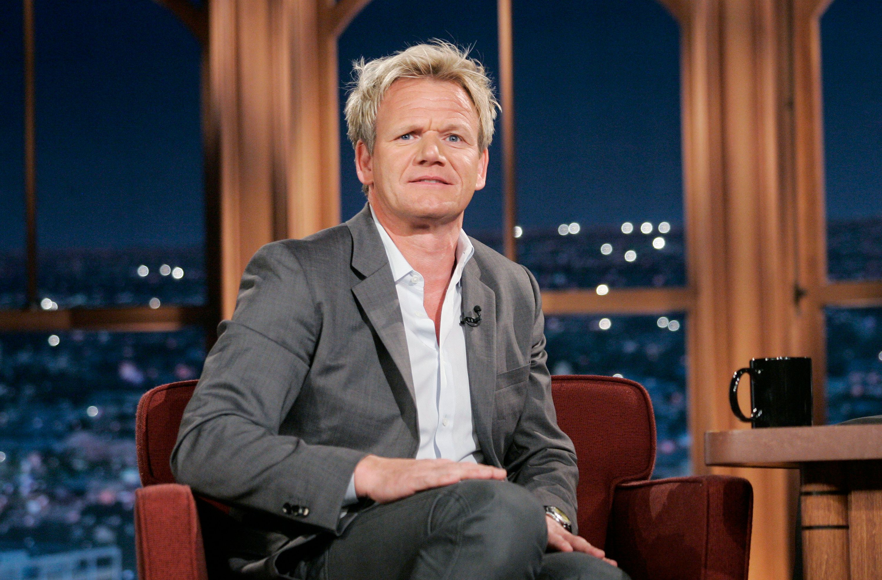 "Chef Gordon Ramsay during a segment of the ""Late Late Show with Craig Ferguson"" at CBS Television City in Los Angeles."