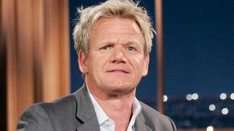 """Chef Gordon Ramsay during a segment of the """"Late Late Show with Craig Ferguson"""" at CBS Television City in Los Angeles."""