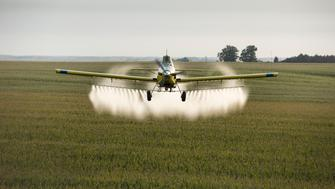WHITTEMORE, IA - AUGUST 26: A look at life above Iowa on August 26, 2015 in Whittemore, IA. During the summer season Tony Meyer cheats death daily as he pilots his Air Tractor just feet off the ground at speeds over 200mph. The family crop dusting business spans three generations of the Meyer family. (Photo by Charles Ommanney/The Washington Post via Getty Images)