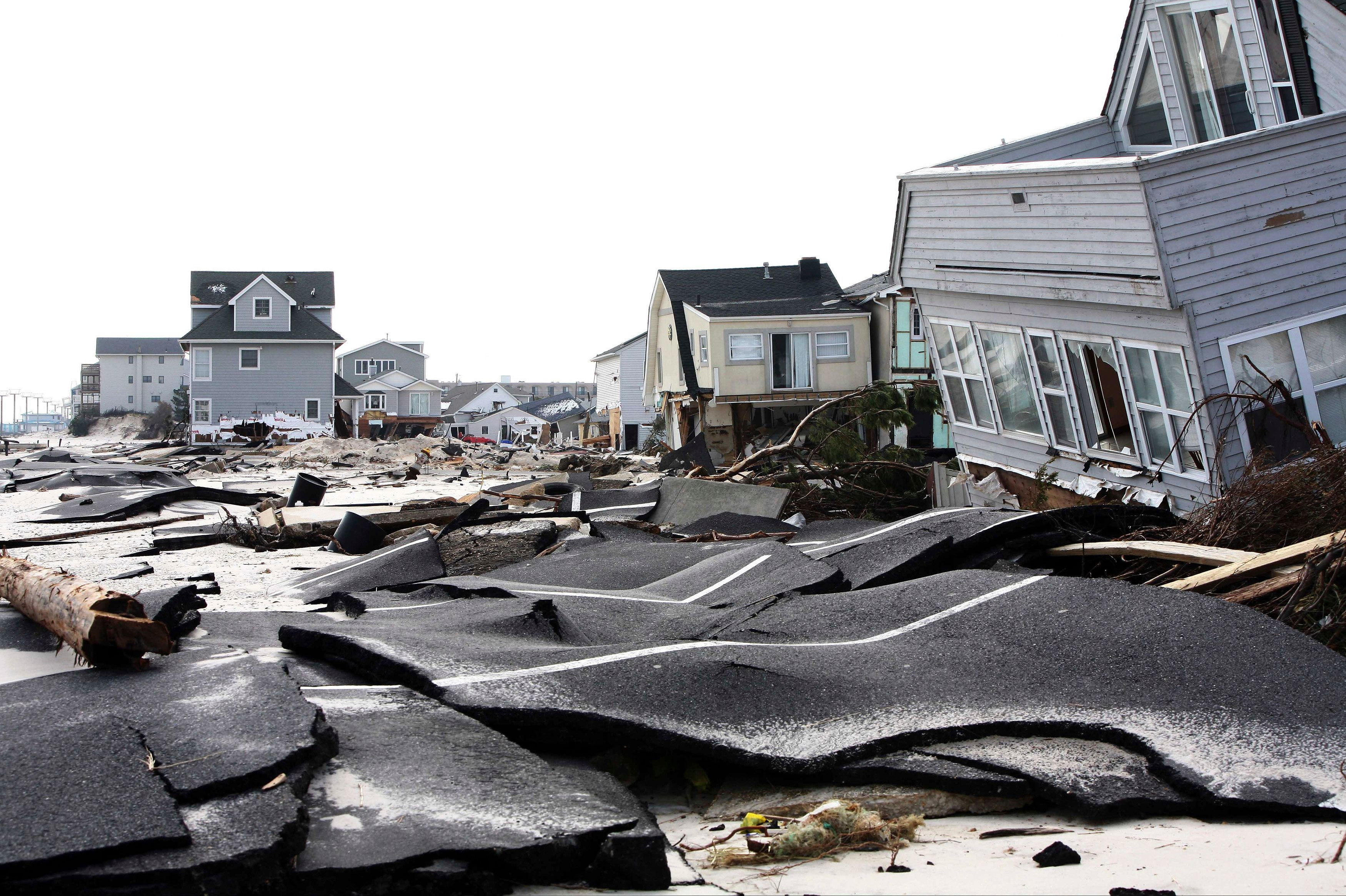 Streets damaged during Hurricane Sandy are seen in Ortley Beach, New Jersey, in this November 10, 2012. One year later, Presi