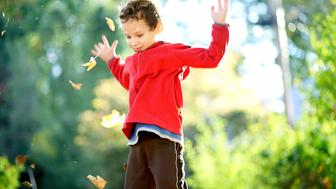 Action shot of boy tossing autumn leaves up into the air. The colors of the leaves are so colorful, the crunch and crackle of the leaves sounds so good and it is so much fun to watch the leaves float to the ground.