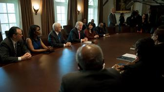 US President Donald Trump (C) meets with the Congressional Black Caucus Executive Committee at the White House in Washington, DC, March 22, 2017. / AFP PHOTO / JIM WATSON        (Photo credit should read JIM WATSON/AFP/Getty Images)