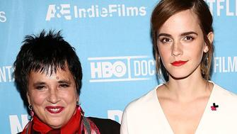 NEW YORK, NY - NOVEMBER 11:  (L-R) Writer Eve Ensler, actress Emma Watson and director Madeleine Gavin attend the 2016 DOC NYC - 'City Of Joy' Premiere at SVA Theater on November 11, 2016 in New York City.  (Photo by Astrid Stawiarz/Getty Images)