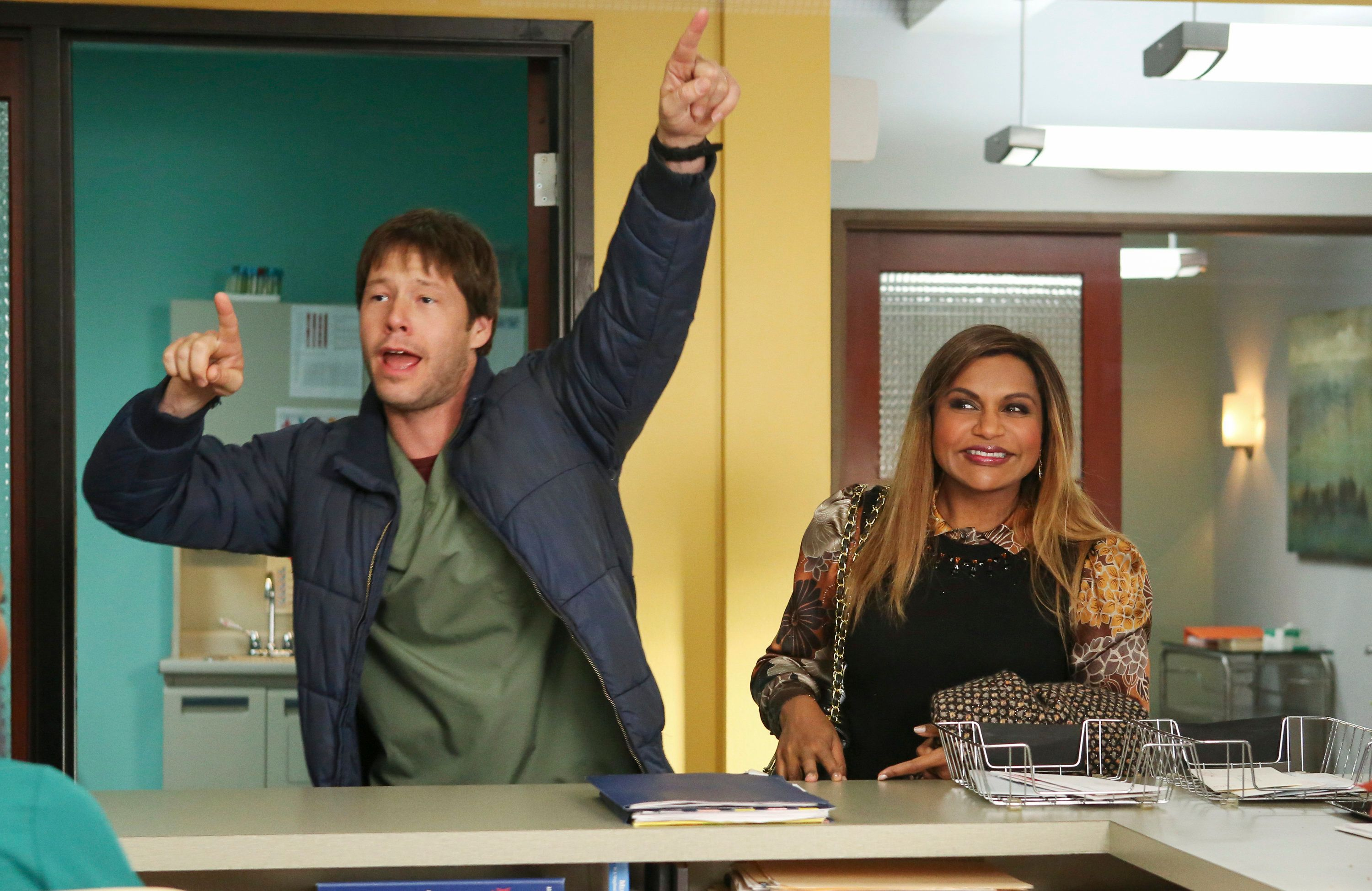 THE MINDY PROJECT -- 'Revenge Of The Nurse' Episode 507 -- Pictured: (l-r) Ike Barinholtz as Morgan Tookers, Mindy Kaling as Mindy Lahiri -- (Photo by: Vivian Zink/Universal Television/NBCU Photo Bank via Getty Images)