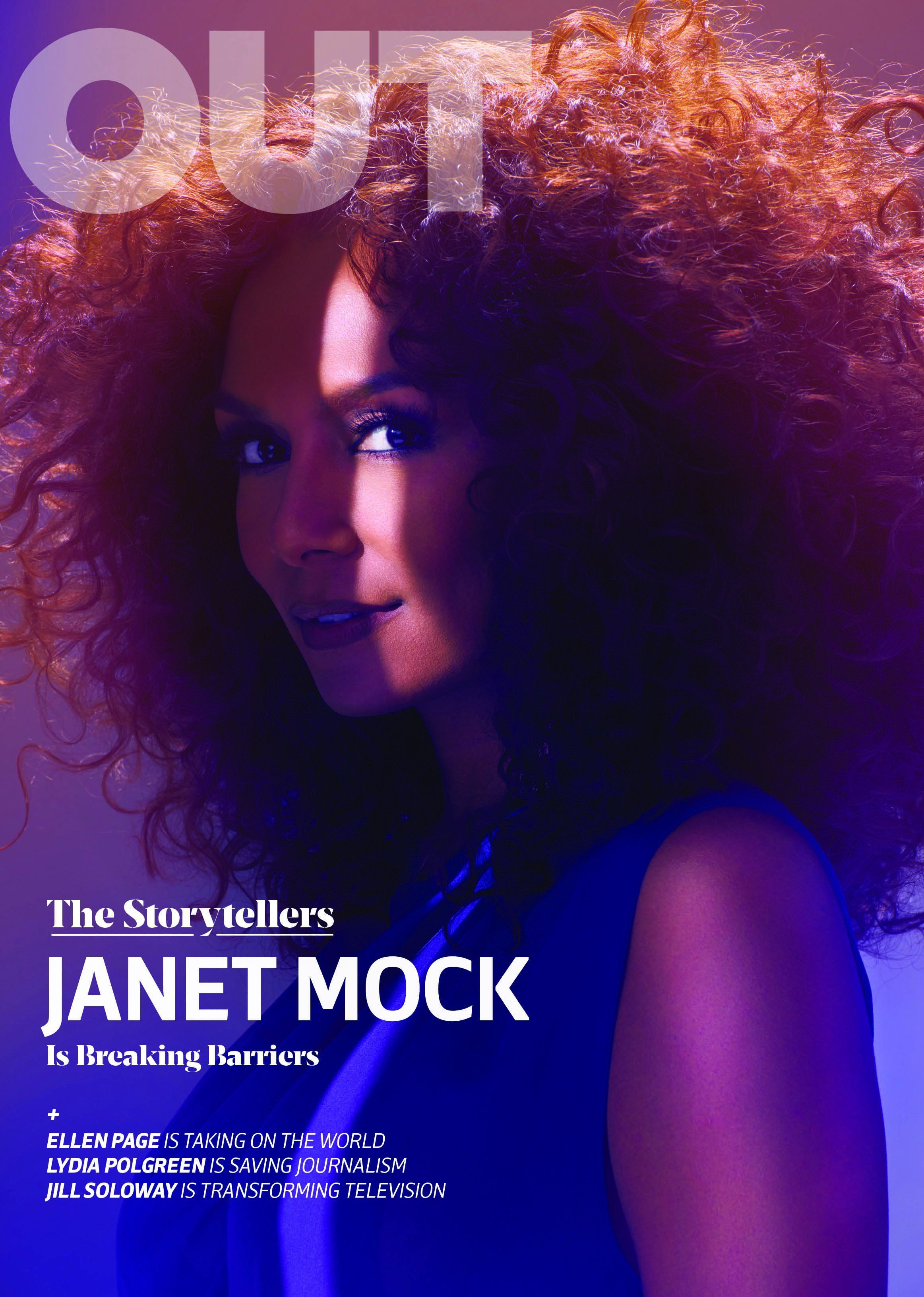 Author Janet Mock graces one of four Out magazine covers for May.