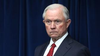 WASHINGTON, DC - MARCH 06:  Attorney General Jeff Sessions prepares to give remarks related to a reconstituted travel ban during a news conference at the U.S. Customs and Borders Protection headquarters, on March 6, 2017 in Washington, DC. Earlier today, President Donald Trump signed an executive order that excludes Iraq from the blacklisted countries but continues to block entry to the U.S. for citizens of Somalia, Sudan, Syria, Iran, Libya and Yemen. Sessions, Secretary of Homeland Security John Kelly and Secretary of Homeland Security John Kelly left the news conference without taking questions.  (Photo by Mark Wilson/Getty Images)
