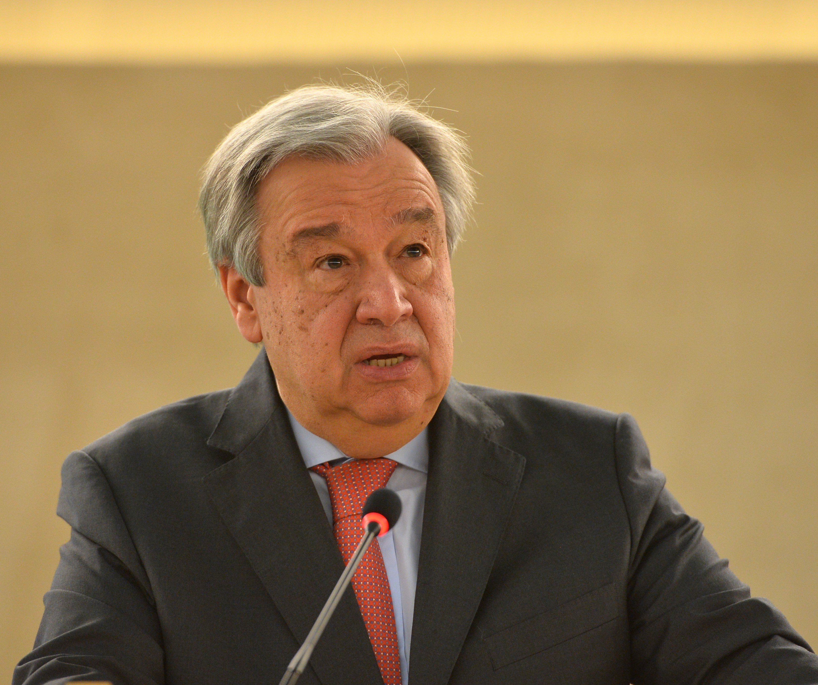 GENEVA, SWITZERLAND - FEBRUARY 27: UN Secretary-General Antonio Guterres delivers a speech during the 34th session of the United Nations Human Rights Council at the United Nations office in Geneva, Switzerland on February 27, 2017. (Photo by Mustafa Yalcin/Anadolu Agency/Getty Images)