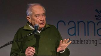 Raphael Mechoulam delivers a speech to participants at the CannaTech conference, an international summit for accelerating cannabis innovation, in the Israeli city of Tel Aviv on March 7, 2016.  Mechoulam is a leading figure in the medical cannabis research and serves today as the chairperson of the CannaTech conference. / AFP / JACK GUEZ        (Photo credit should read JACK GUEZ/AFP/Getty Images)
