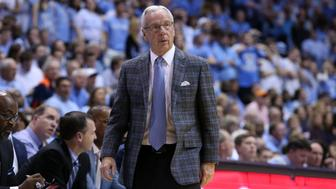 CHAPEL HILL, NC - FEBRUARY 18:  UNC head coach Roy Williams. The University of North Carolina Tar Heels hosted the University of Virginia Cavaliers on February 18, 2017, at the Dean E. Smith Center in Chapel Hill, North Carolina in a 2016-17 Division I Men's Basketball game. UNC won the game 65-41. (Photo by Andy Mead/YCJ/Icon Sportswire via Getty Images)