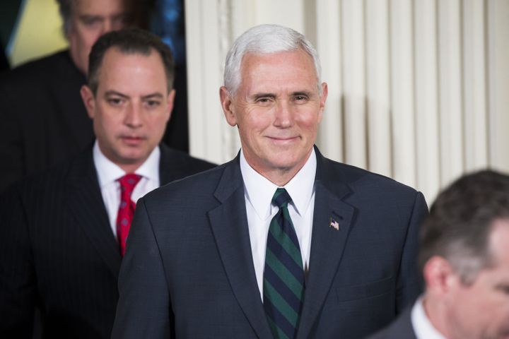 """<p>MARCH 17: Vice President <a href=""""https://www.huffpost.com/news/topic/mike-pence"""">Mike Pence</a> arrives for a joint press conference by U.S. President <a href=""""https://www.huffpost.com/news/topic/donald-trump"""">Donald Trump</a> (not seen) and German Chancellor Angela Merkel (not seen) at the White House.</p>"""