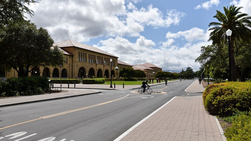 Outside the main quad at Stanford University in Palo Alto, Calif.