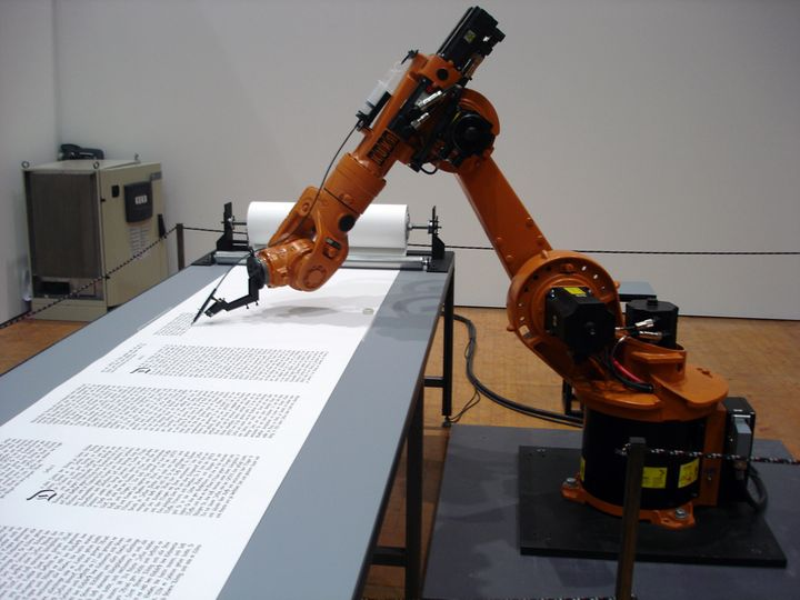 Roboscribe is one of many robots that does repetitive tasks like calligraphy without fatigue, bathroom breaks, pension or oth