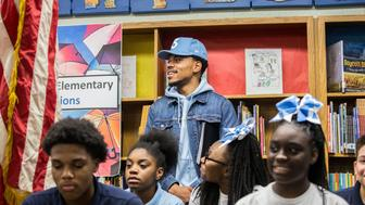 Chance the Rapper holds a press conference at Westcott Elementary School in Chicago's Chatham neighborhood on March 6, 2017. (Zbigniew Bzdak/Chicago Tribune/TNS via Getty Images)