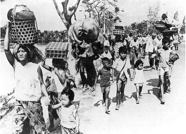 1975: The Khmer Rouge evacuated all cities as part of an ambitious and brutal agrarian communist revolution in Cambodia.