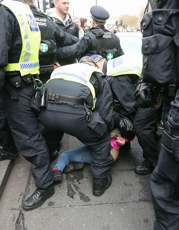 A UAF demonstrator is arrested on