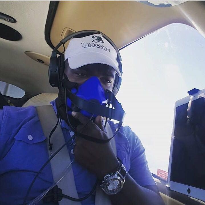 Ademilola Odujinrin in the air during the expedition.