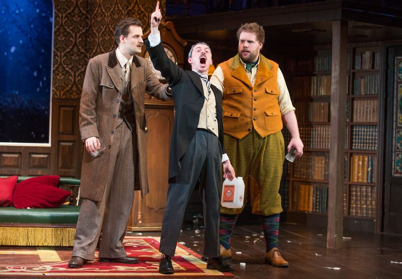 Authors Henry Shields, Jonathan Sayer and Henry Lewis in <em>The Play That Goes Wrong</em>