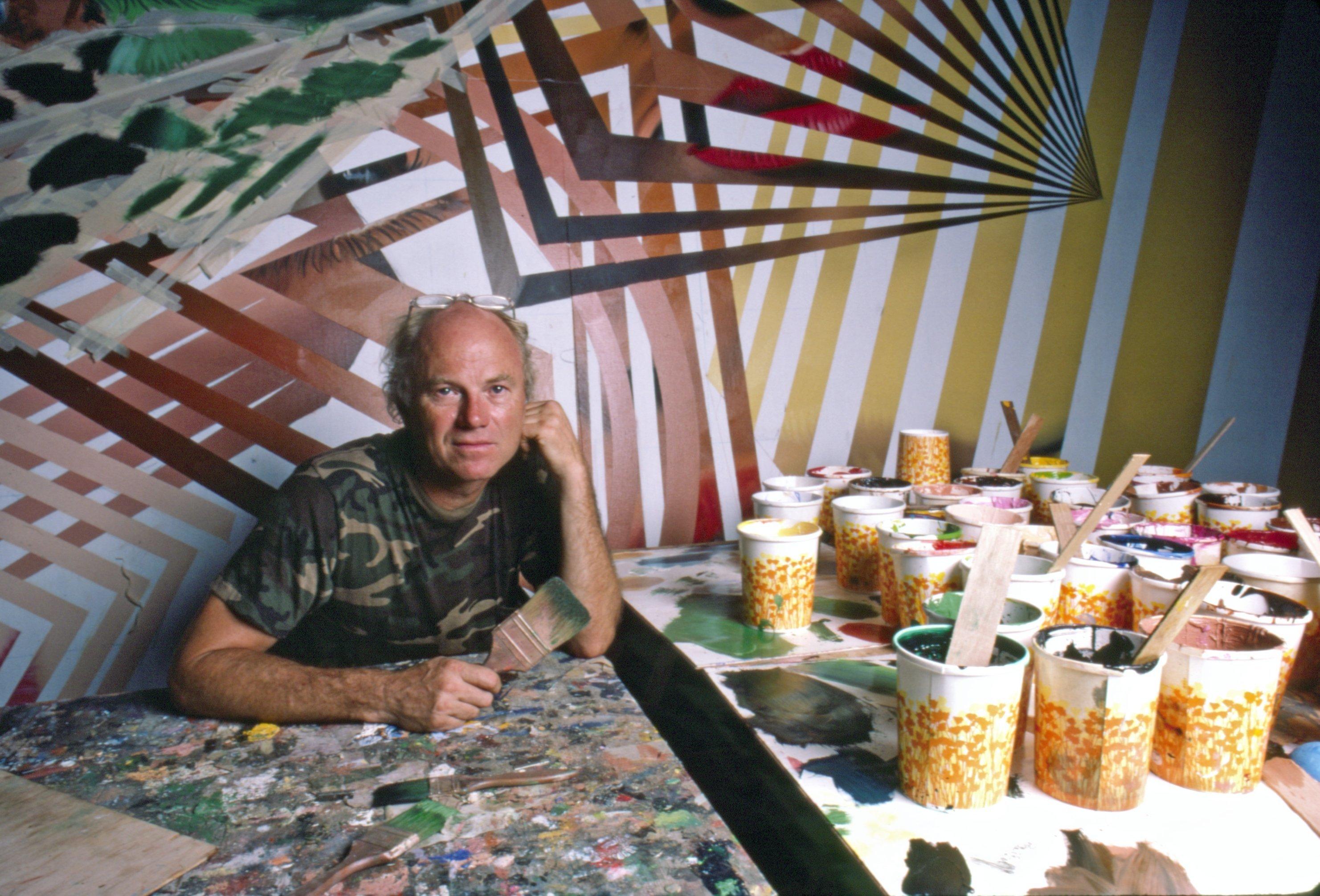 James Rosenquist at work in his studio in Florida in 1986.