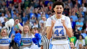 GLENDALE, AZ - APRIL 01: Justin Jackson #44 of the North Carolina Tar Heels reacts after defeating the Oregon Ducks during the 2017 NCAA Men's Final Four Semifinal at University of Phoenix Stadium on April 1, 2017 in Glendale, Arizona. North Carolina defeated Oregon 77-76. (Photo by Ronald Martinez/Getty Images)